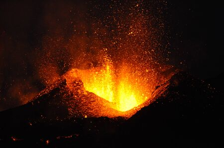iceland: Eyjafjallaj�kull volcano at night Stock Photo