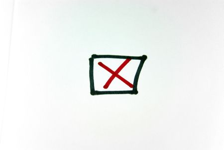 red x: A close up view of a black box crossed out with a red x Stock Photo