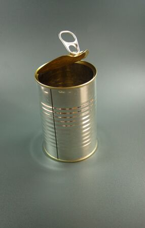 A close-up view over white of an empty can photo