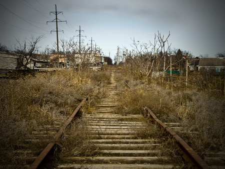 The thrown railway access ways as a result of manufacture crisis Stock Photo