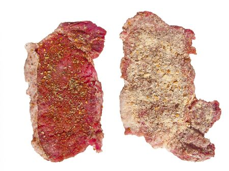 breading: Fought off the meat in the breading and spices Stock Photo