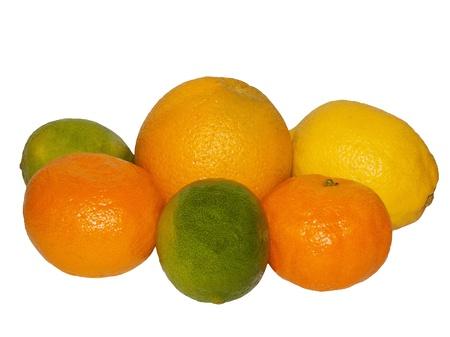 Orange, lemon, mandarin, lime on a white background photo