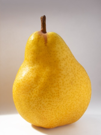 food stuff: Yellow juicy pear with a gray background Stock Photo