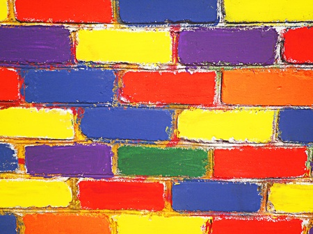 multi coloured: Brick wall painted children Stock Photo