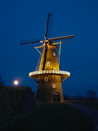 Windmill quiet at night. Holland. Editorial