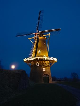 Windmill quiet at night. Holland.