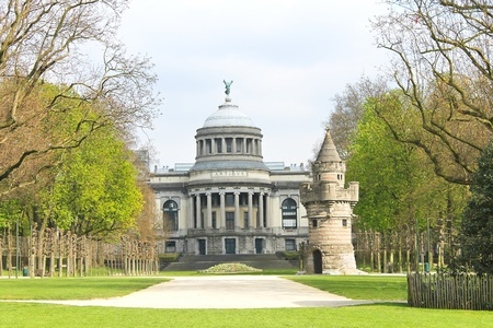 historical buildings: The fortress tower in a park in Brussels