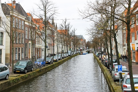 delft: Canal  in Delft, Holland  Editorial