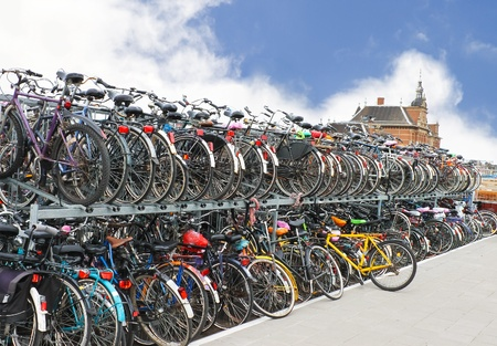 Plenty bicycles at parking lot in  Stock Photo - 13353602