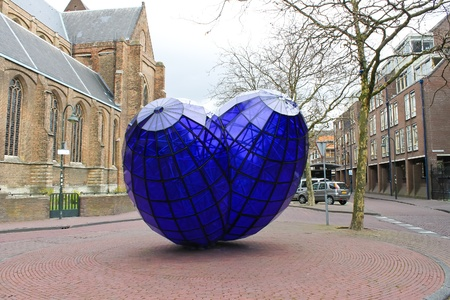 Abstract sculpture in the town square. Delft,  Netherlands Editorial