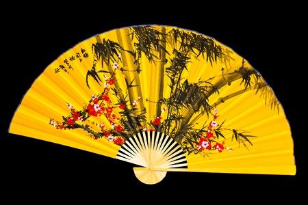 eventail japonais: Fan japonais sur un fond noir