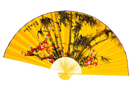 paper fan: Japanese fan on a white background