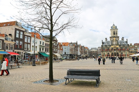 The central square in front of Town Hall. Delft. Netherlands