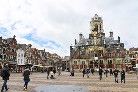 The central square in front of Town Hall. Delft. Netherlands Stock Photo - 13365138