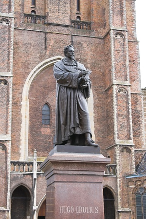 Statue of Hugo Grotius in Delft,  Netherlands Stock Photo - 13376076