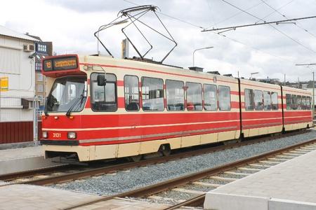 Tram Stop in Delft. Netherlands, Europe