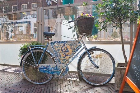 Bicycle advertising café in Delft,  Netherlands