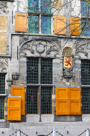 The facade of a historic building in the center of Delft. Netherlands photo