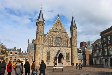Ridderzaal, the Hague . Tourists visiting the sights. Den Haag.  Netherlands