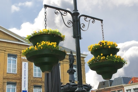 gorinchem: Pots of flowers in the town square in Gorinchem. Netherlands Editorial