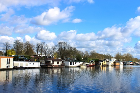 Houseboats in Gorinchem. Netherlands Stock Photo - 14189584