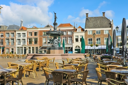 Street cafe near the fountain in Gorinchem. Netherlands photo