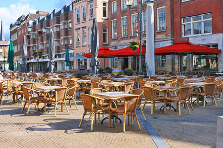 wall bars: Street cafe on the square in Gorinchem. Netherlands