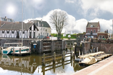gorinchem: Pier and yacht in Gorinchem  Netherlands Stock Photo
