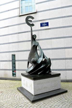 Euro. Statue in front of European Parliament  in Brussels. Belgium