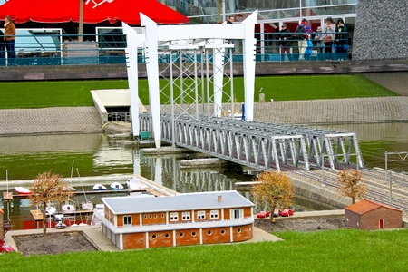 Miniature railway bridge in the park Madurodam. Netherlands, Den Haag