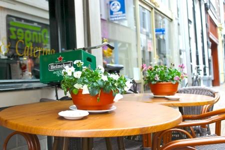 gorinchem: Flowers on the tables of street cafes. Gorinchem. Netherlands  Editorial