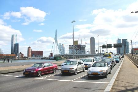 Highway near the bridge Erasmus of Rotterdam. Netherlands