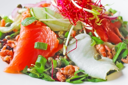 Salad with red and white fish, shrimp and herbs Stock Photo - 14748343