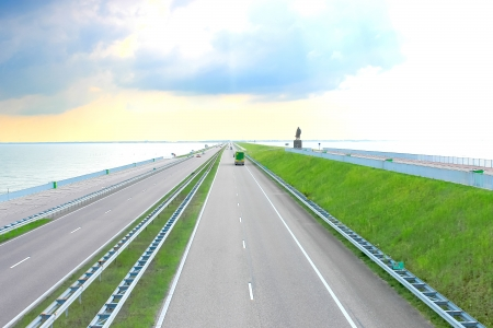 Highway on a great dam in Netherlands  photo