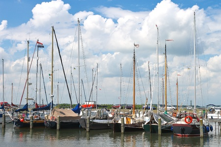 marken: Yachts in  harbor of the island Marken. Netherlands Stock Photo