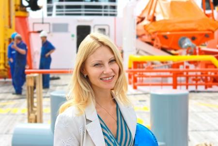 shipbuilder: Woman engineer shipbuilder at the shipyard.