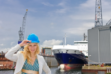 Woman engineer shipbuilder at the shipyard. photo