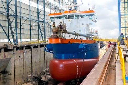 Ship in  shipyards covered dry dock