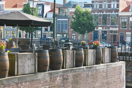 Morning cafe in port Gorinchem. Netherlands photo