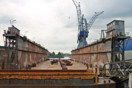 keel: Empty dry dock at the shipyard, the Netherlands