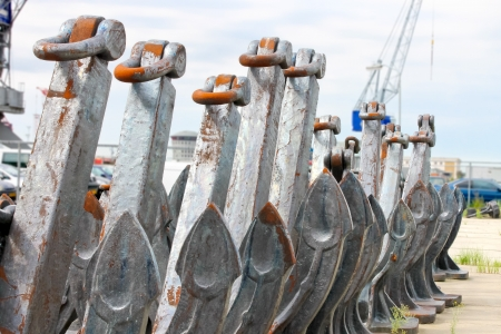 Several new anchors in the shipyard photo