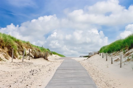 The road in dunes to the beach. Netherlands Stock Photo