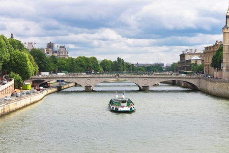 Pleasure boat on the Seine in Paris. France photo