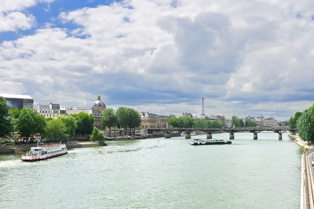 Pleasure boats on the Seine in Paris. France photo