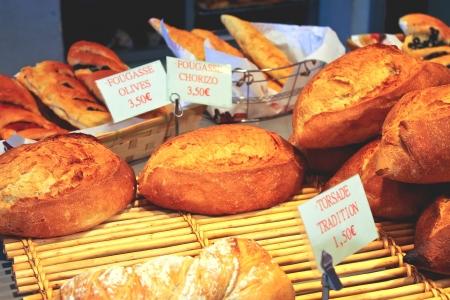 Bread in a shop window Stock Photo