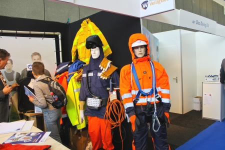 shipbuilder: Mannequins in clothing welders and fitters at the exhibition Offshore Energy 2012. Netherlands Editorial