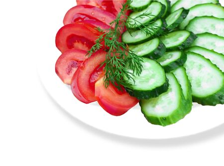 Tomato and cucumber with dill on a plate Stock Photo - 17002535