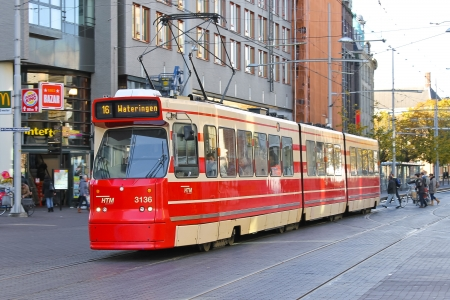 htm: Tram stop in The Hague. Netherlands Editorial
