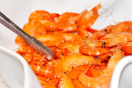 Boiled shrimp in a bowl in a restaurant Stock Photo - 17034650