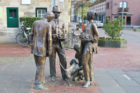 Sculptural composition of bronze in Valkenburg. Netherlands photo